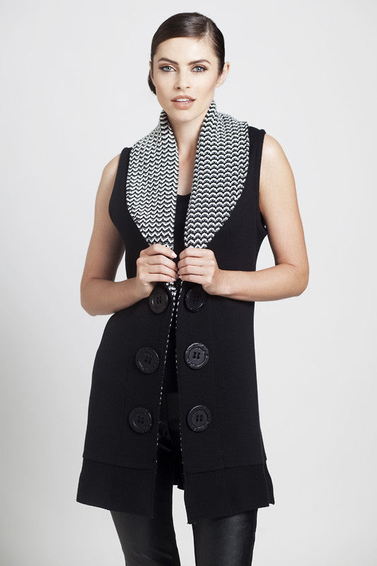 Scalloped Knit Collar Vest