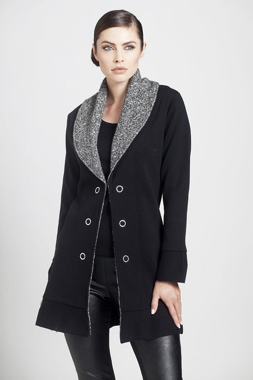 Melange Knit Collar Jacket
