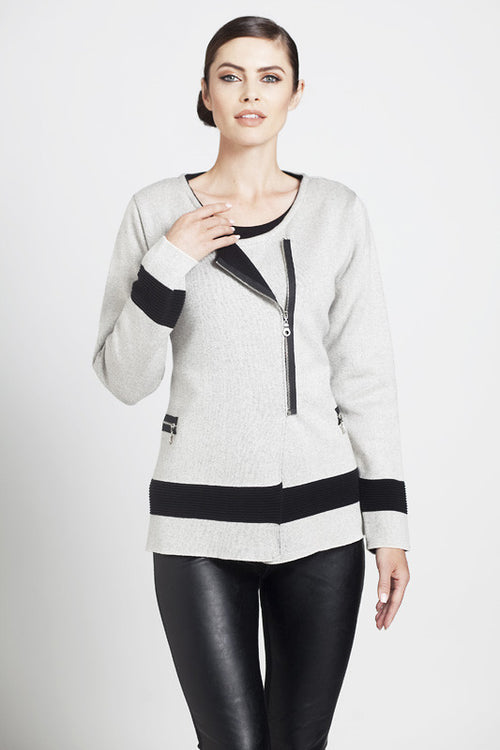 Contrast Off-Ctr Zip Cardigan