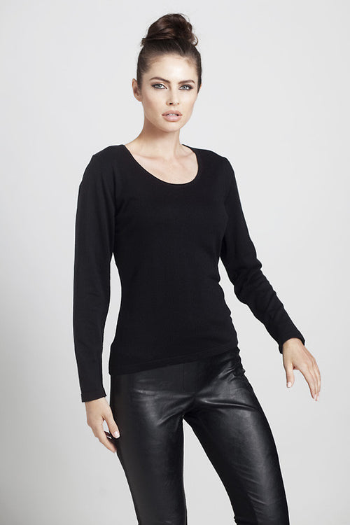 Long Sleeve Scoop-Neck Top