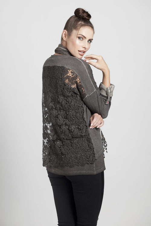 Layered Lace Top w/Tank & Scarf