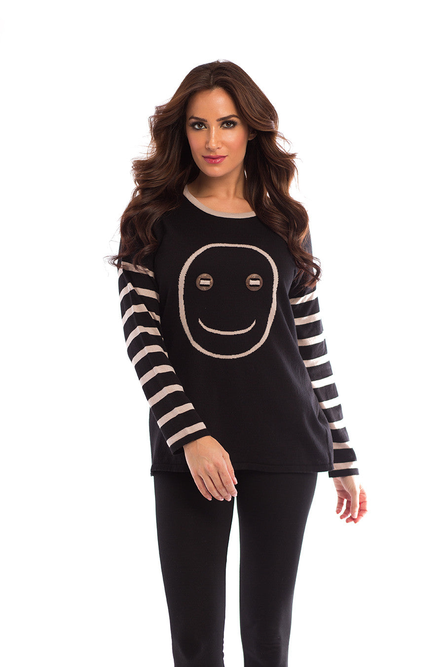 Wood Button Smiley Face Pullover