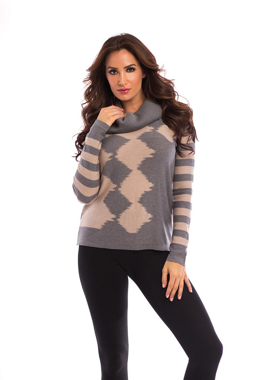 Abstract Cowl-Neck Pullover