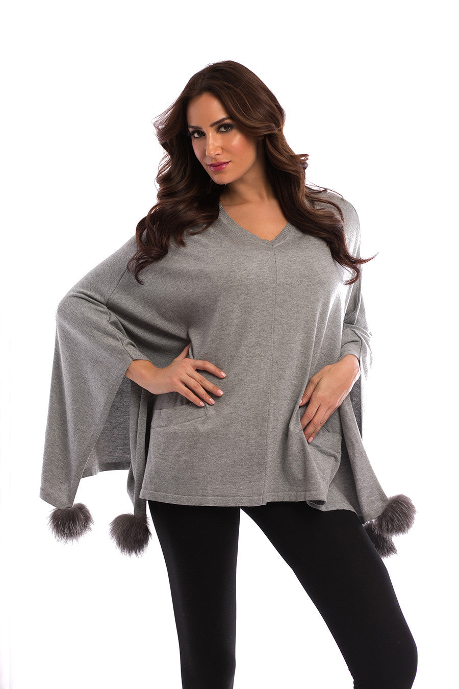 Pom-Pom Fox Fur Poncho W/ Pockets