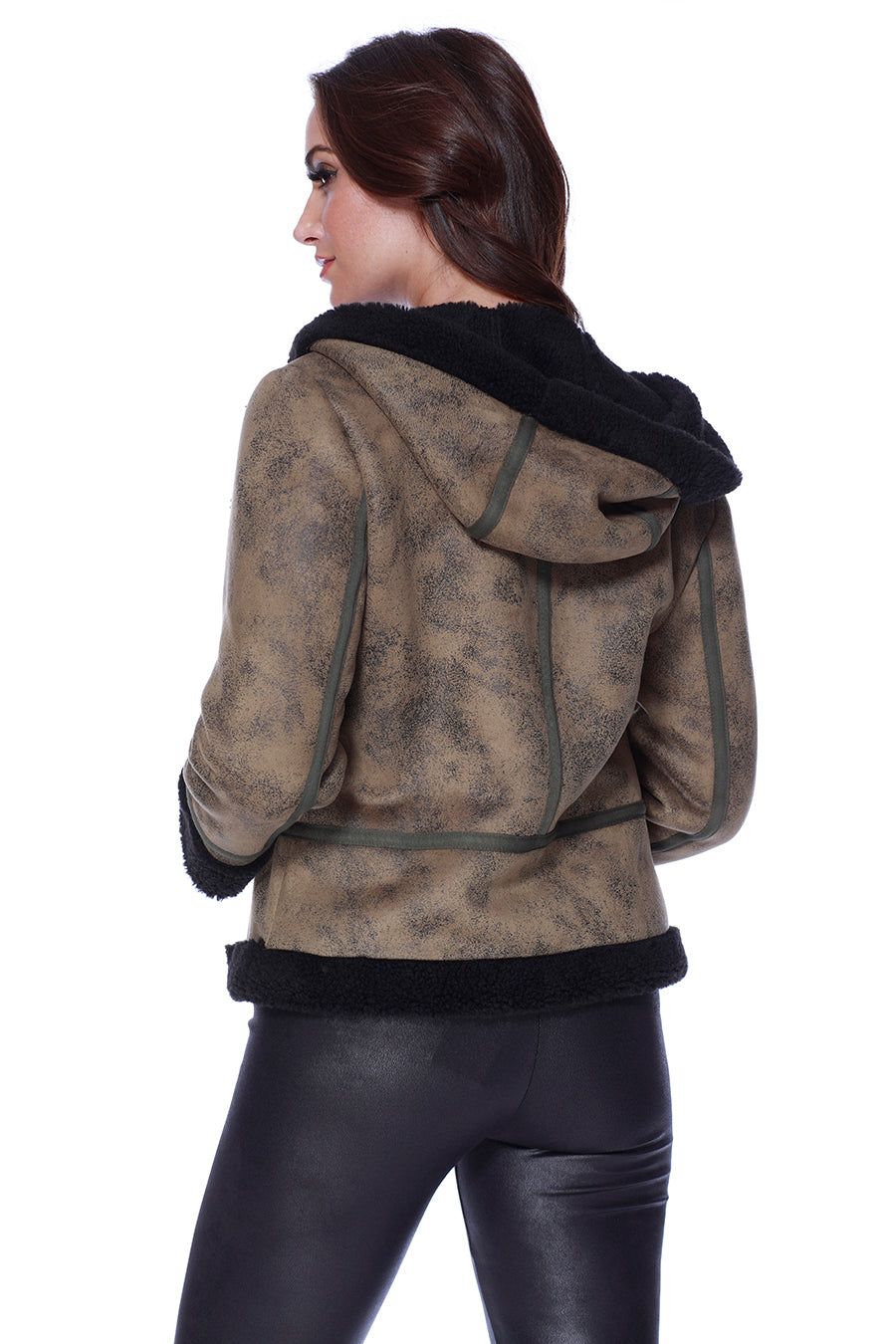 Microfiber Leather Jacket W/ Hood