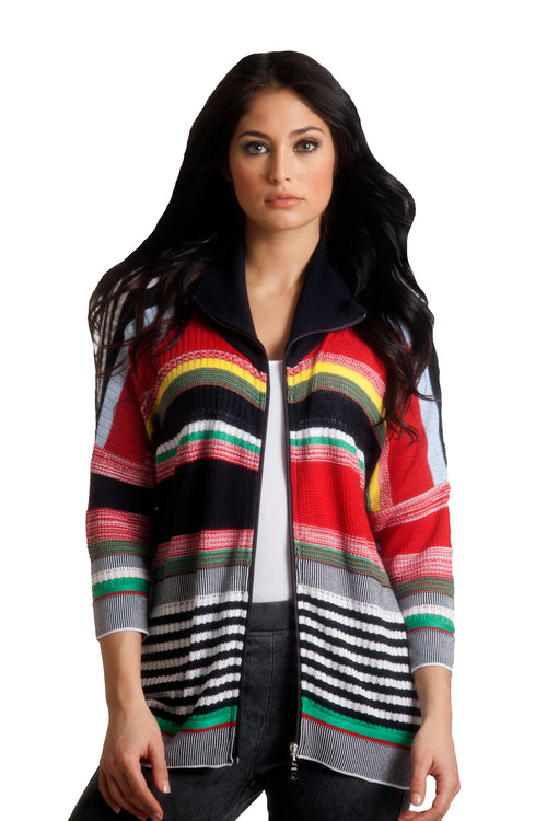 Multi Striped 3/4 Sleeve Cardigan