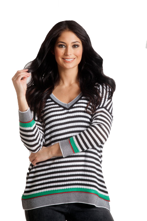 Striped V-Neck 3/4 Sleeve Sweater