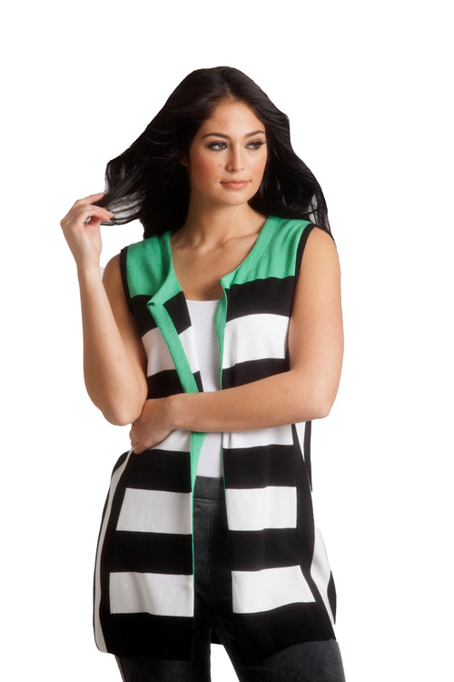 Color Block Stripped Long Vest