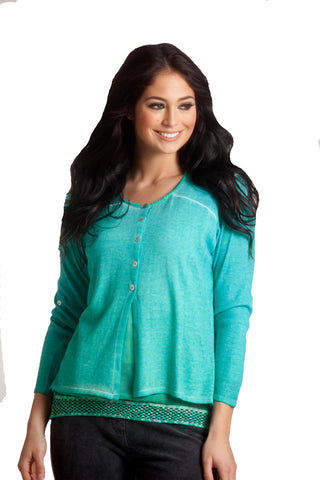 Ombre Back-Cutout Cardigan