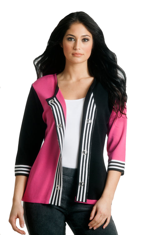 Striped Placket Cardigan