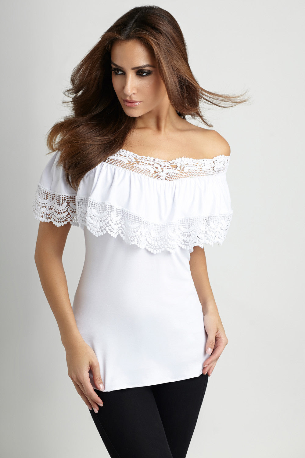 Pleated Crochet-Trim Top
