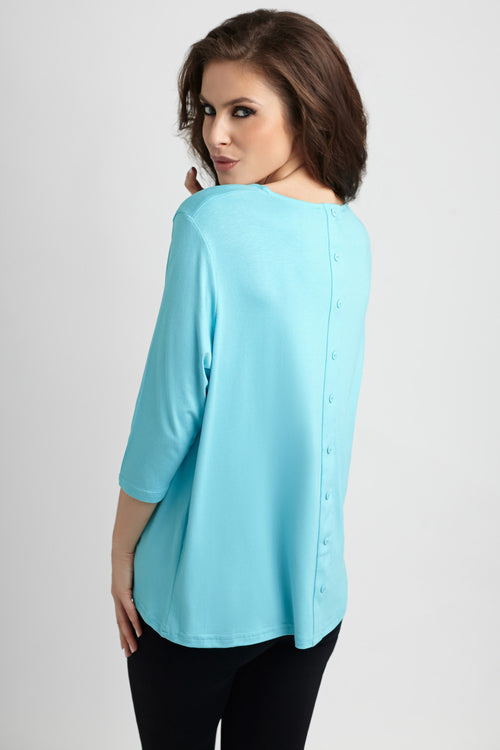 Button-Back Scoop Neck Top