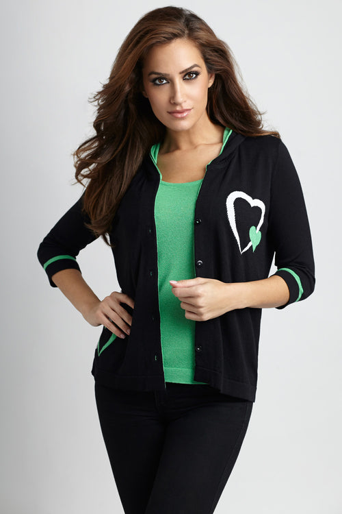 Double Heart Hooded Cardigan