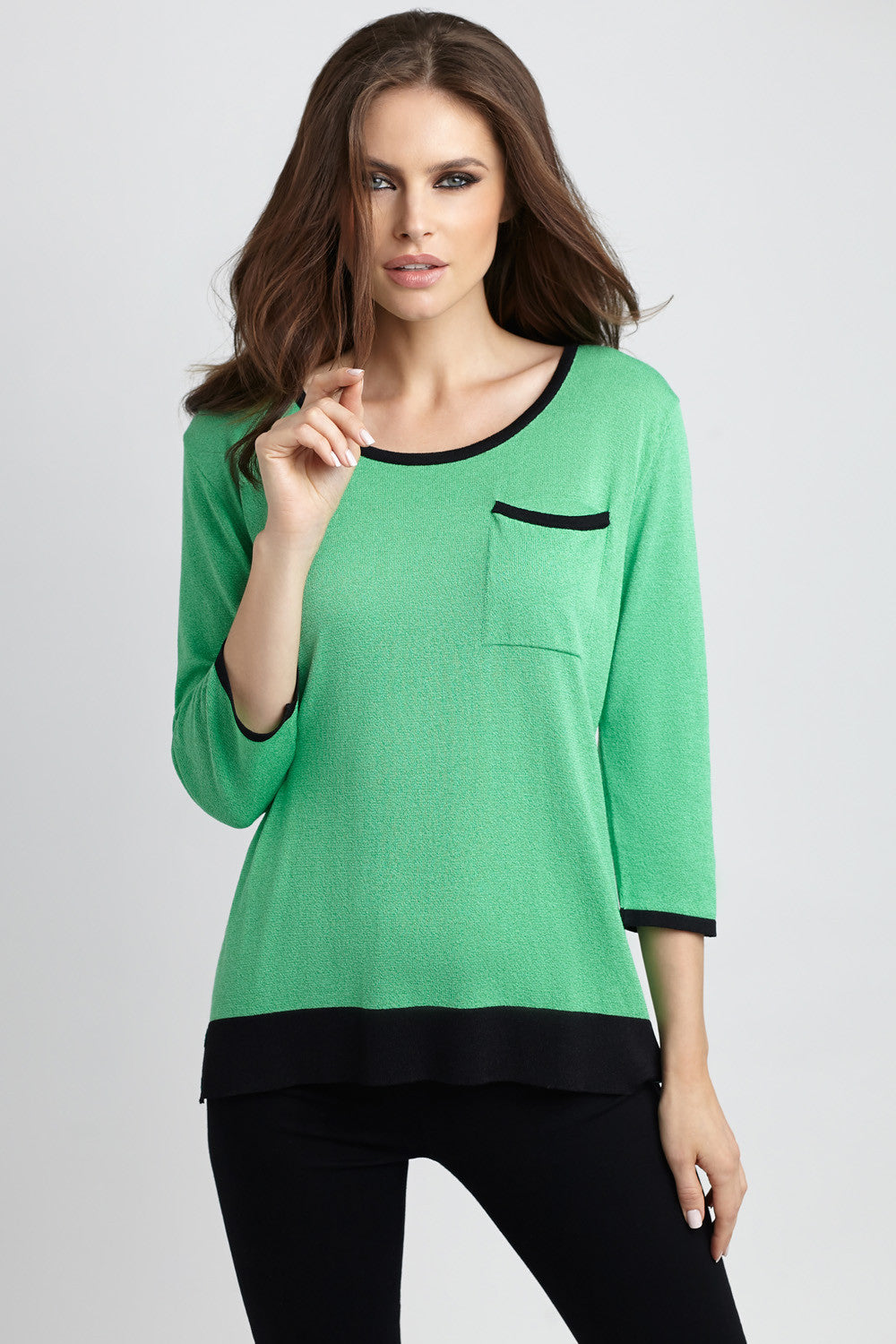 Colorblocked Back-Snap Pocket Sweater
