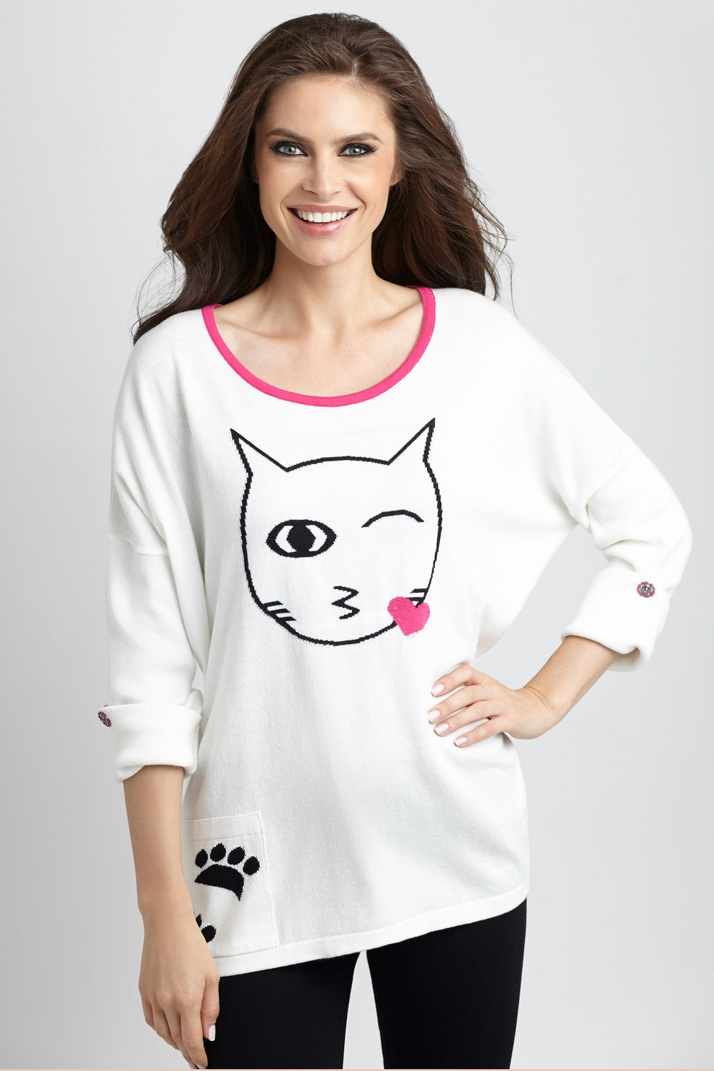 Cat Kiss Graphic Sweater