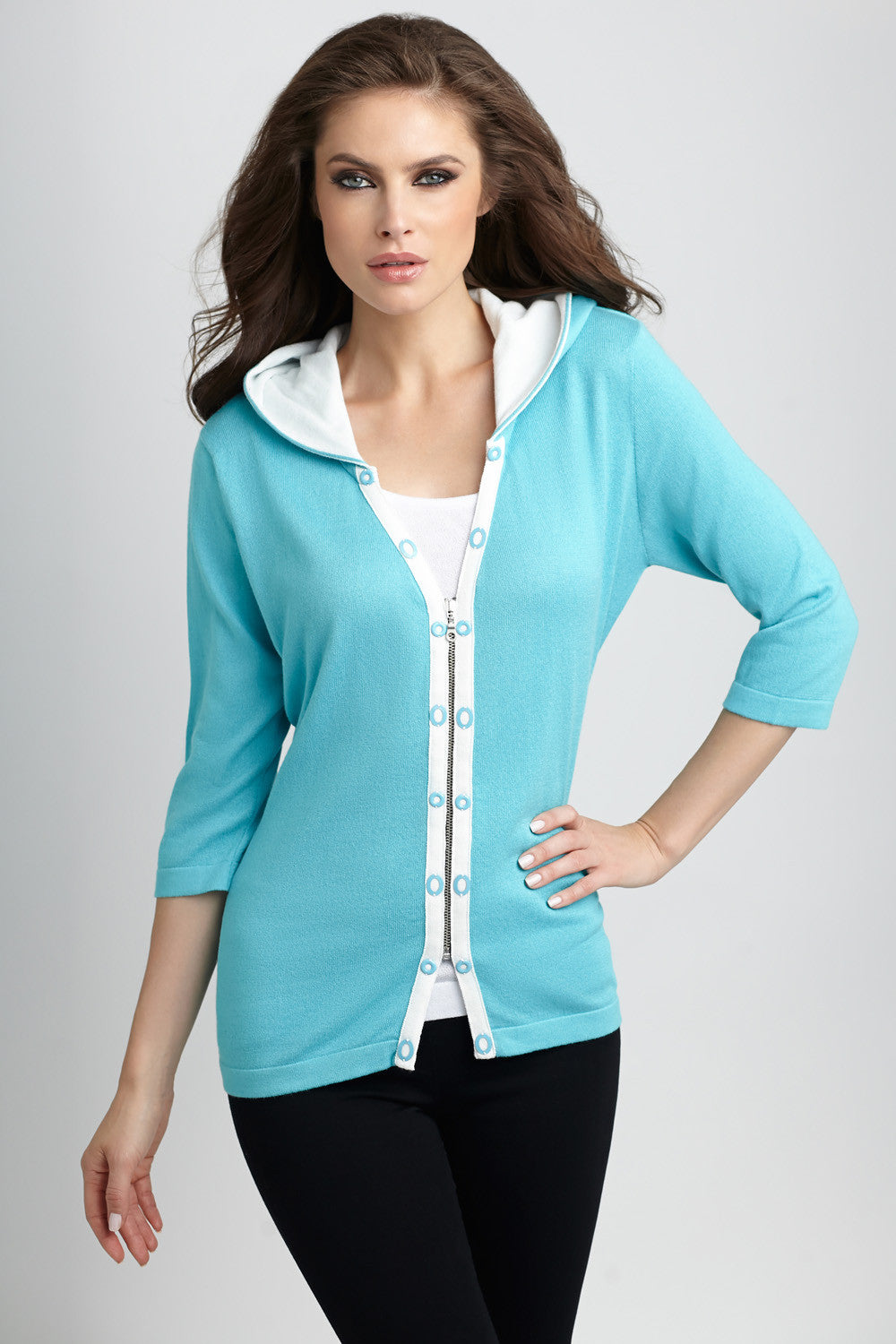 Rivet Hooded Knit Cardigan
