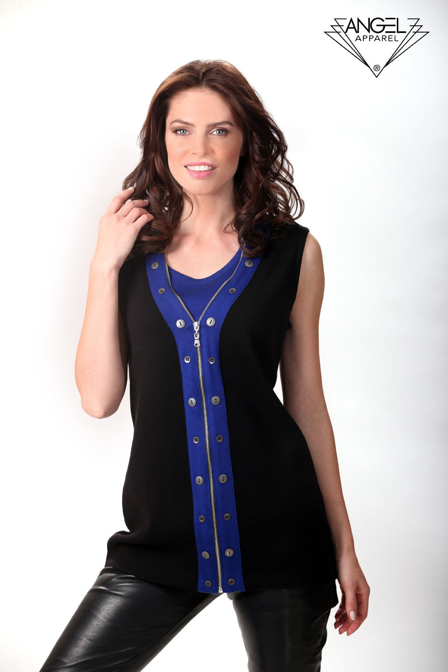 Button-Accent Long Vest