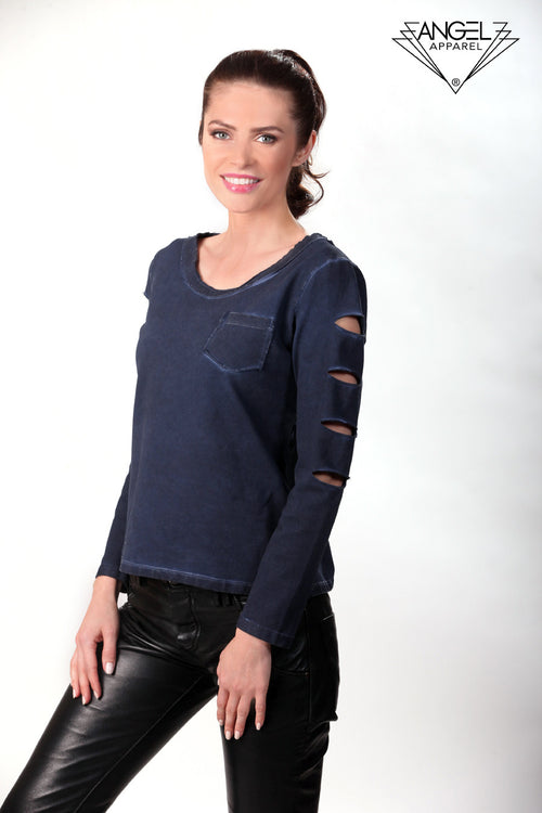 Scoop-Neck Distressed Top