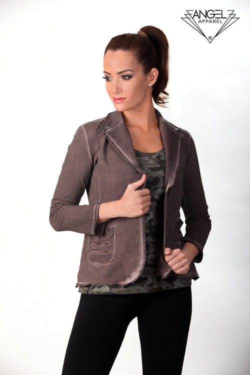 One-Button Distressed Blazer