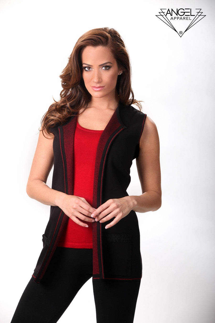 Back Embroidery Zip-Up Vest