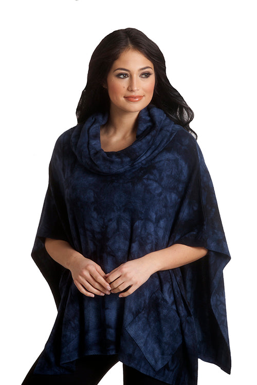 Super Soft Marble Cowl Neck Poncho
