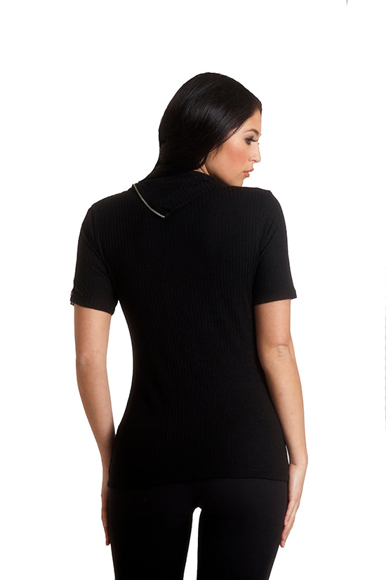 Zip Neck Short Sleeve Top