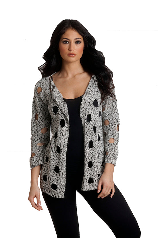 Cut Out Draped Crochet Cardigan