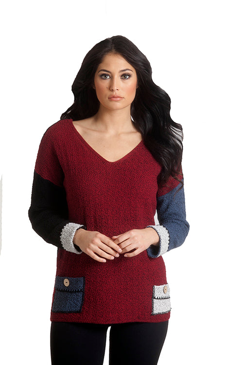 Boucle Reversible V-Neck Top