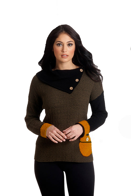 Boucle Draped Neck