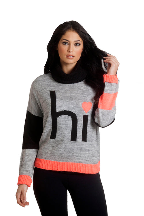 """Hi"" Cowl Neck Sweater"