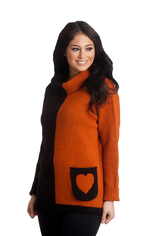 Two Tone Heart Pocket Sweater