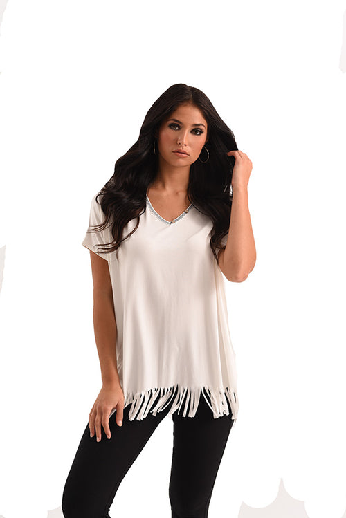 Grace Short Sleeve Fringe Top