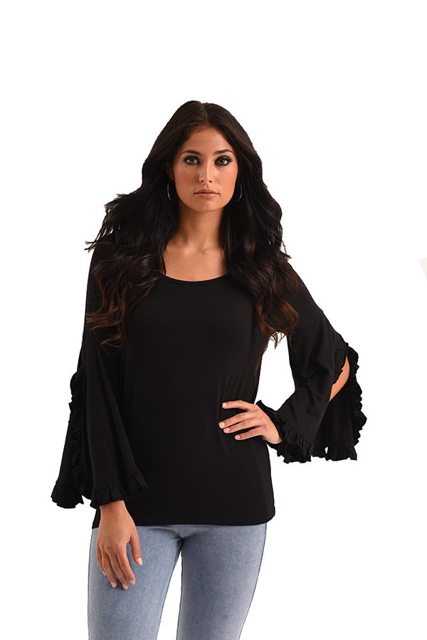 Marie Ruffle Sleeve Scoop Top