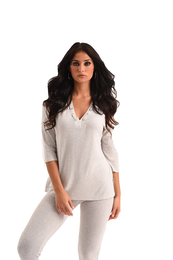 Heather Grommet V-Neck Kashmira Top