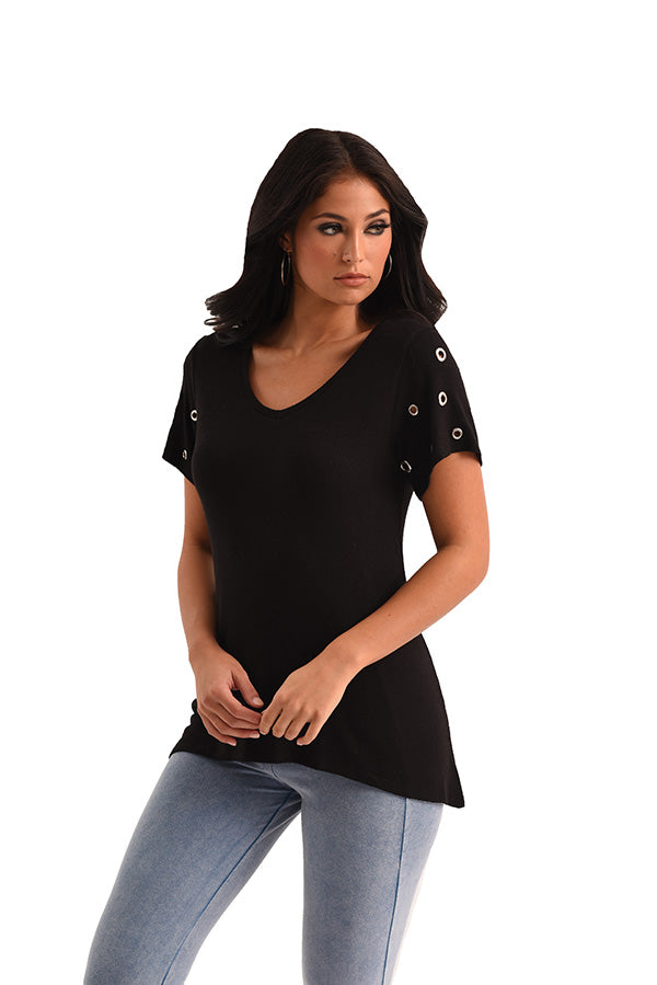 Ryelle Grommet Short Sleeve Kashmira Top