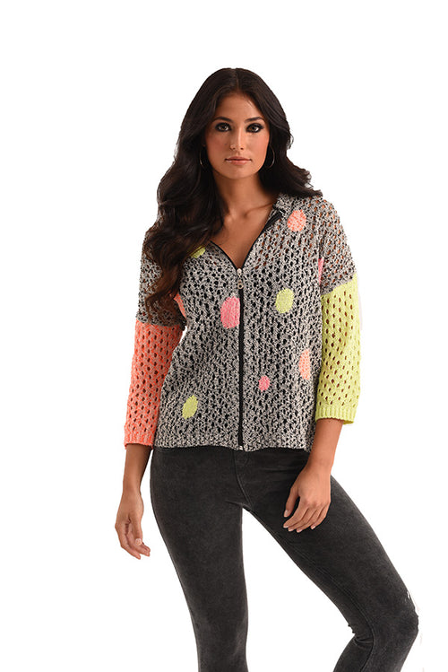 Daisy Bubbles Crochet Zip Cardigan