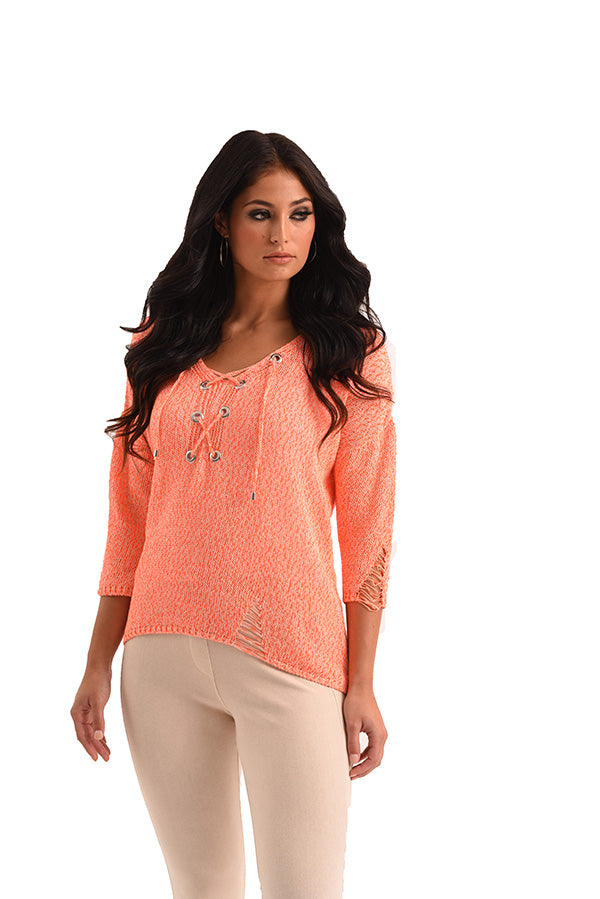 Sloane Crochet Raw Cut Tie Top