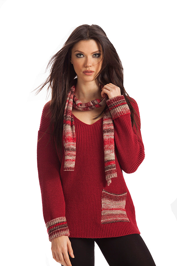Emilia Ribbed V-Neck W/ Scarf