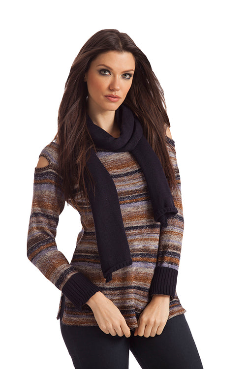 Bethany Striped Sweater W/ Scarf