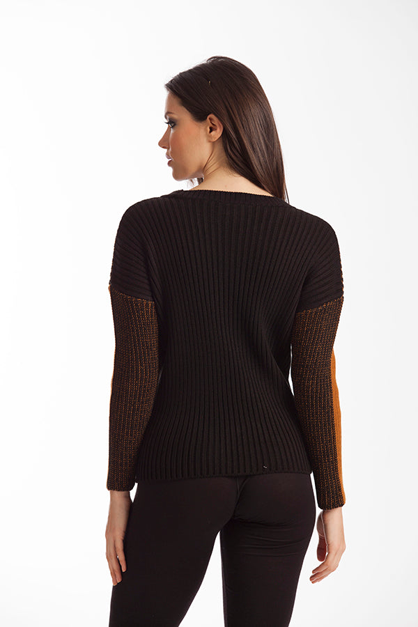 Maggie Two Tone Ribbed Sweater