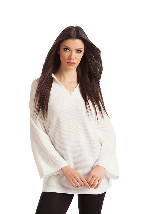 James Ribbed Bell Sleeve Top