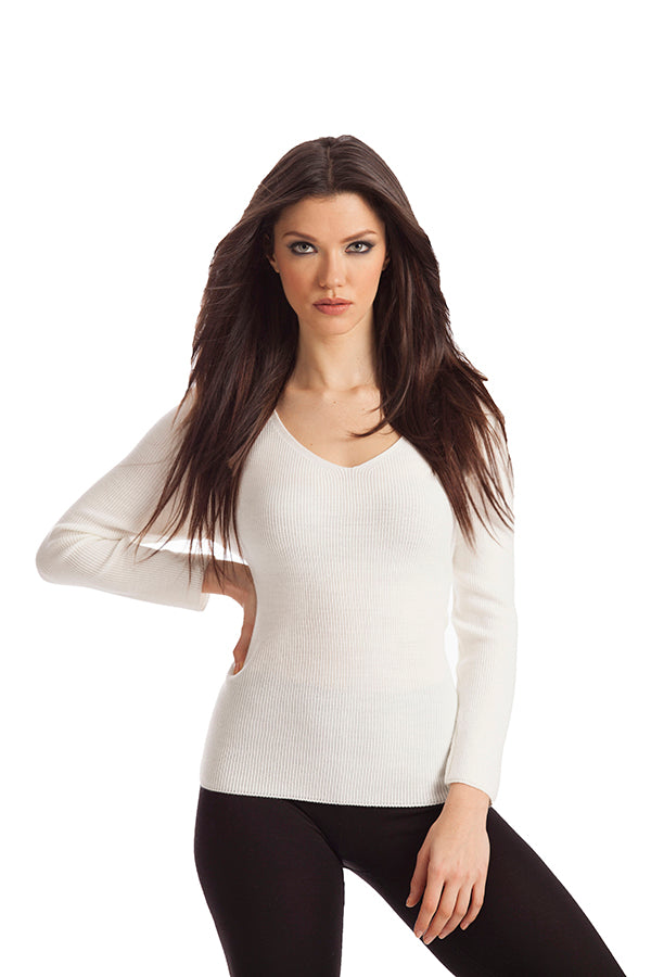 Marie Ribbed V-Neck Sweater