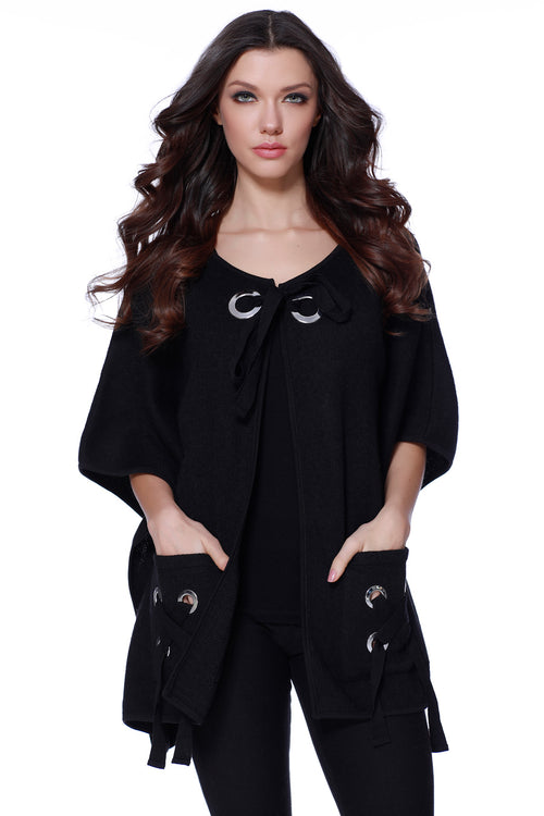 Lillian Lace Up Poncho