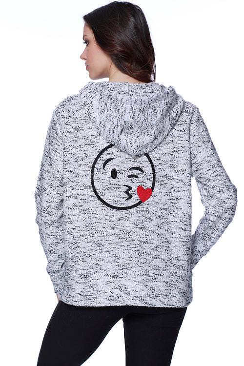 Kiss Emoji Hooded Cardigan