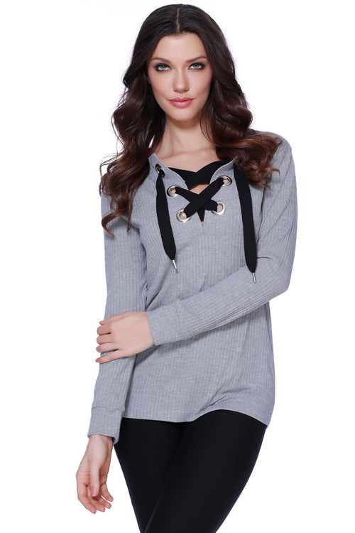 Quinn Lace Up Pullover