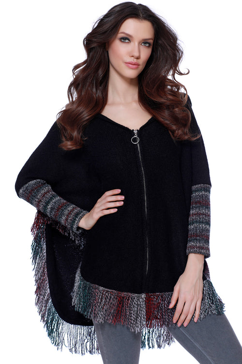 Kimberly Fringe Hooded Poncho