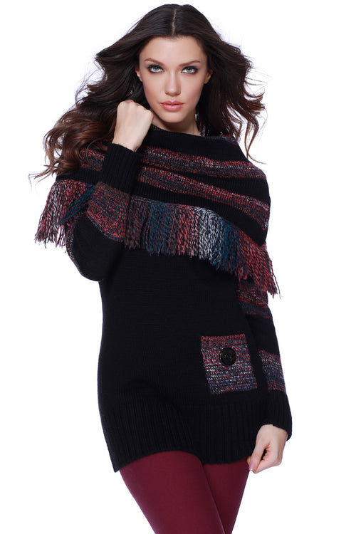 Tiffany Over The Shoulder Fringe Pullover