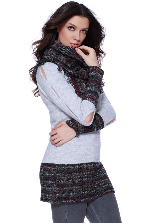 Briella Long V-Neck W/ Fringe Scarf