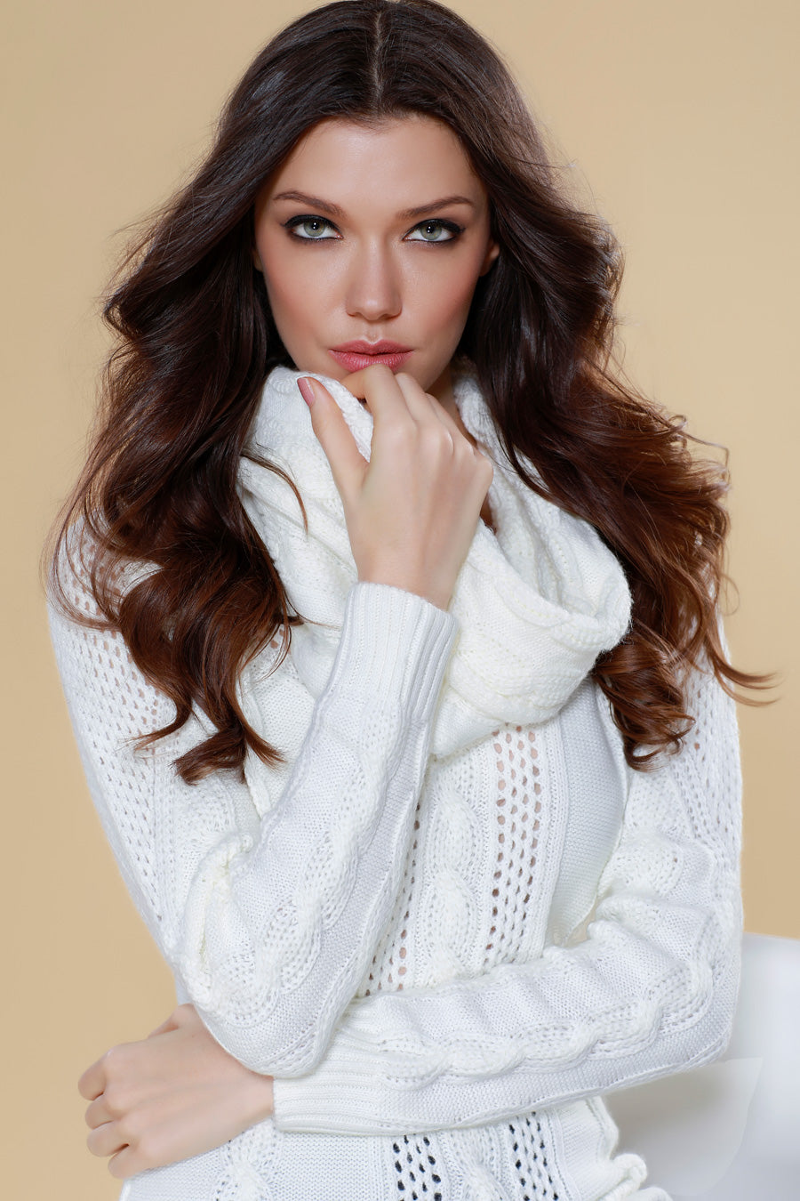 Juliana Cable Knit Sweater Attach Scarf