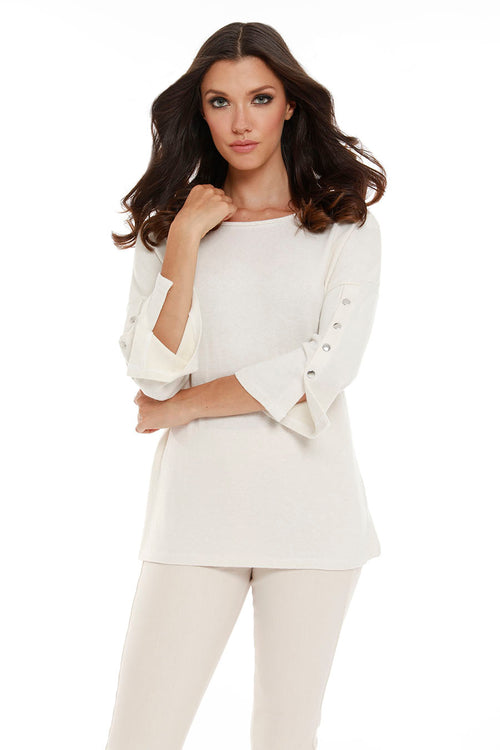 Adriana Kashmira 3/4 Button Sleeve Sweater